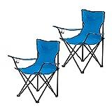 Alightup Chaise de Camping Pliantes Lot de 2 Confortable avec Accoudoirs,Chaise de Plage Fauteuil Pliable Légère avec Boisson et Sac de Transport,Fauteuil de Peche Bleu