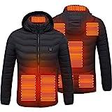 BST&BAO Veste chauffante, Vestes chauffantes imperméables avec Veste chauffante 8 Zones USB Veste à Capuche électrique Veste de réchauffement d'hiver Manteau