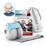 Alpine Baby Muffy Casque Anti bruit bébé Protection Auditive pour bebe et tout-petits - Casque antibruit jusqu'à 36 mois - Améliore le sommeil pendant les déplacements - réglable et confortable – Bleu