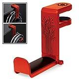 ENHANCE Support Casque Audio de Jeu ou de Musique avec Bras Pivotant à 360 Degrés, Pince de Fixation Format Universel pour Table et Bureau avec Rangement pour Câble Intégré - Rouge