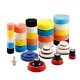Éponges de Polissage, 32Pcs 25mm 50mm et 80mm Kit de Polissage Pad Éponge à polir Kit pour Voiture Ponçage Polissage pour Polisseuse Machine à polir -POSWMIX36