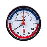 THERMIS Manomètre de température Thermomanomètre 0-4 bar 0-120°C raccord arrière G1 / 2' (80 mm) 3082