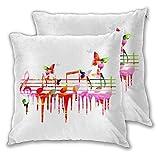 BROWCIN Taie d'oreiller Lot de 2 Artwork coloré Notes de Musique Clef Composer Orchestra décoratif Classique Housse De Coussin carré pour Lit Voiture De La Maison Canapé 45cm x 45cm