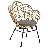 IDIMEX Chaise de Salle à Manger Tepal Imitation rotin, Fauteuil d'intérieur ou d'extérieur pour Jardin en polyrattan résistant aux UV et 4 Pieds en Acier Anti-Rouille laqué Noir, avec Coussin