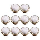 Batop Lot de 10 Bouton de Meuble Porcelaine en Céramique Effet Craquelé de Style Indien pour Meubles de Cuisine, Tiroirs et Armoires