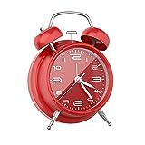 Réveil Matin, Réveil Matin Silencieux sans Bruit, Vintage Alarme Réveil avec Lumière de Nuit, Petit Réveil Parfait comme Horloge De Chevet - Rouge