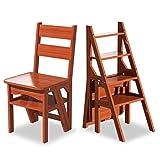 Chaise Pliante en Bois Massif échelle for la Cuisine, l'étape Pliable des ménages Tabouret Chaise d'échelle Combination Portable escabeau et chaises (Color : Walnut Color)