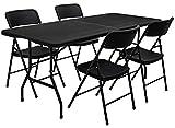 AMANKA Ensemble de Meubles de Jardin - Table de 180 cm avec 4 chaises - Pliable Aspect Rotin Noir
