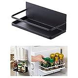 Oyria Support de Stockage d'absorption magnétique, Support d'organisateur magnétique de réfrigérateur, Support de Pot à épices d'étagère d'organisateur de Stockage fixé au Mur, Noir