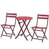 Outsunny Salon de Jardin Bistro Pliable - Table Ronde Ø 60 cm avec 2 chaises Pliantes - métal thermolaqué Rouge