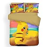 Pikachu Lot de 3 housses de couette 100 % microfibre, impression 3D, avec fermeture éclair, 1 housse de couette et 2 taies d'oreiller, chaud et confortable (Pokémon 3, 155 x 220 cm + 80 x 80 cm x 2)