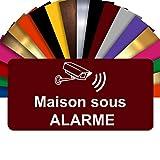 Plaque - Maison Sous Alarme - Autocollante – Plaque De Maison PVC Adhésive 10 x 5 cm – 21 Couleurs Disponibles (Bordeaux)