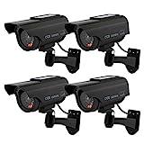 Hengu Caméras factices avec Panneau Solaire, Fausse de Sécurité Caméra CCTV avec LED Lumière pour Usage Intérieur Extérieur (4 Pack, Noir)