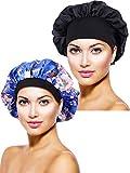 2 Pièces Bonnet en Satin Chapeau de Sommeil de Nuit Bonnet de Sommeil pour Femmes Filles (Noir, Fleur Bleue Imprimée)