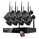 TMEZON Vidéosurveillance NVR kit 1080P WiFi/sans-Fil Auto-Pair,8CH Enregistreur avec IP Caméras de Surveillance 2.0MP 1080p Métal IP66 Exterieur Vision Nocturne Surveiller Via Smartphone/PC 1TB HDD