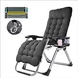 Chaises de camping Chaises longues de jardin Chaise pliante Chaise pliante d'extérieur avec appui-tête, porte-gobelet et coussin de siège, inclinaison réglable de 90 à 160 degrés, chaise longue de ter