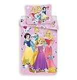 Disney Princesses Housse de couette enfant Parure de lit 140x200cm Taie 70x90cm 100% coton
