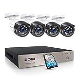 ZOSI 1080P 8CH H.265+ DVR Enregistreur avec 1TB Disque Dur et 4 Caméra Surveillance Extérieure 20M Vision Nocturne, Accès à Distance par Smartphone