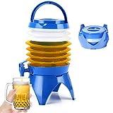 SOULBEST Portable Seau Pliant avec Robinet - Pliant d'eau Sac De Transport Conteneur,d'eau Réservoir pour Boissons Bière Jus Réfrigérateur Camping Car Voyage Voiture, sans BPA (Bleu-5,5 L)