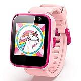 AGPTEK Montre Connectée Intelligente Enfant, Smartwatch avec Téléphone/SOS/Caméra/Appel/Musique/Réveil/Lampe de Poche, Bracelet 8G Ecran Tactile 1,54' Jeux Educatifs Cadeau pour Fille/Garçon-Rose