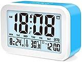 YXLM Réveil numérique, Horloge de Bureau, Affichage à la Batterie à la Maison, Horloge de Bureau de la température, 12 * 8,8 * 4,8 cm,Blue-12 * 8.8 * 4.8 Cm