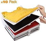 KOARBI Organisateur Tee Shirt, Rangement de vêtements, Placard, armoires. Résistant, Recyclable. Anti-humidité, Anti-Rides. Organiseur t-Shirts, Chemise, commodes, étagères, Placard. 10 Pack