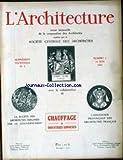 ARCHITECTURE (L') [No 1] du 15/06/1927 - DEBESSON - LE PROBLEME DU CHAUFFAGE MODERNE PRUD'HON G. - LE CHAUFFAGE CENTRAL AU GAZ