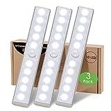Lampe Led Detecteur Mouvement Pile Interieur, 3 Paquet Lumiere Placard Dressing Sans Fil Eclairage Reglette 10 LED Pour Escalier Armoire Sous Meuble Cuisine Veilleuse Avec Bande Magnetique Adhésive