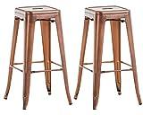 Lot de 2 Tabourets de Bar Joshua avec Repose-Pied I Set 2 Chaise de Bar Design Industriel Hauteur Assise 77 cm I Couleur :, Couleurs:cuivre