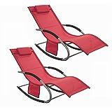 SoBuy® OGS28-Rx2 Lot de 2 Fauteuils à Bascule Transats de Jardin avec Repose-Pieds, Bains de Soleil Rocking Chair - Rouge