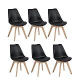 H.J WeDoo Lot de 6 chaises de Salle à Manger Scandinaves, Chaises Rétro Rembourrée Bois de Hêtre Massif- Noir