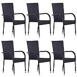 Casdl Lot de 6 chaises de jardin empilables en rotin synthétique Noir