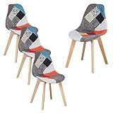 GrandCA HOME Lot de 4 chaises de Salle à Manger, Chaise de Style scandinave, chaises Patchwork, Chaise en Lin avec Pieds en Bois Massif pour Salle à Manger, Salon, Restaurant (Rouge-4)