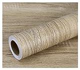 ODSHY Grain de Bois PVC Autocollants pour armoires de Garde-Robe Meubles de Table imperméables Auto-adhésifs Papier Peint à la Maison Decor Documents muraux (Couleur : White, Dimensions : 40cmx100cm)