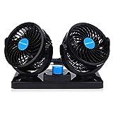 Ventilateur 12v Voiture électrique pour Camion, 360 degrés Rotatif 2 Vitesses Ajustable Double Ventilateur Voiture Allume Cigare.