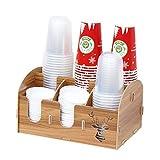 WanuigH Distributeur de Gobelets Porte-gobelet à Usage Unique en Bois Multi Compartiments Papiers de Boisson à café Coupes de Rangement de l'organisateur DIY Facile à Utiliser