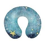 Aquarelle Ciel étoilé étoiles Mignonnes Oreiller de Voyage Avion en Mousse à mémoire Oreiller Confortable en Forme de U pour Avion, Voiture, Bureau, Dormir