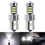 1156 P21w Ba15s 12v-24v LED Ampoule Voiture, 1200 Lumen Blanc 6500K, Avec objectif HD, Utilisées en feux arrière, feu de recul, antibrouillards arrières, etc. (Lot de 2)