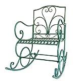 UPOLW-B Chaise à Bascule Simple extérieure en Fer forgé, Fauteuil de Jardin avec Dossier surélevé - Vert 1126-YY