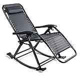 Yabag Fauteuil à bascule réglable en métal, chaise longue pliante avec accoudoirs et support pour tête, chaises de jardin extérieur – Noir (1 pièce – Fauteuil à bascule)
