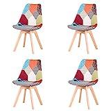 EGOONM Ensemble de 4 chaises de Salle à Manger Patchwork, chaises de Style Nordique, pouvant être placées dans la Salle à Manger, Le Salon et Le Bureau(Rouge)