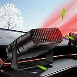 JINGQII Chauffage de voiture, dégivreur de pare-brise, chauffage rapide et ventilateur de refroidissement 2 en 1, rotation à 360 °, à brancher sur un allume-cigare Noir (12V)