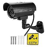 Caméra de vidéosurveillance factice, avec lumière LED Rouge Clignotante, Fausse caméra de Surveillance extérieure étanche aux intempéries, pour supermarché, hôtel, Parking, bibliothèque,