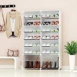 PREMAG Range-Chaussures Portable, Blanc avec Portes Transparentes, Tablette modulaire pour Gagner de la Place, Porte-Chaussures pour Chaussures, Bottes, Pantoufles 2 * 5