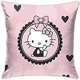 Bxad Housse de coussin Hello Kitty Taie d'oreiller pour canapé lit chaise décoration intérieure
