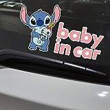 JIAQI Autocollants de Voiture Stitch bébé en Voiture à Bord de Bande dessinée Belle décoration créative Pare-Brise réfléchissant Auto Tuning Style