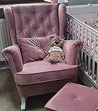 Marthome - Fauteuil à oreilles et à bascule Fauteuil d'allaitement Fauteuil à bascule pour chambre, salon ou chambre de bébé Velours