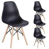 Lot de 4 chaises de salle à manger - Chaise de cuisine en plastique avec pieds en bois pour salle à manger, chambre à coucher, salon