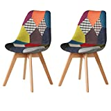 Ellexir Nordic Chaise de Salle à Manger Chaise de Salon Matériau en Tissu Chaise de Cuisine 2 Patchwork Chaise de Bureau Chaise de Cuisine en Lin + Bois(Multicolore)