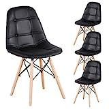 Lot de 4 chaises de salle à manger en cuir synthétique capitonné avec boutons et pieds en bois pour salle à manger, chambre à coucher, salon